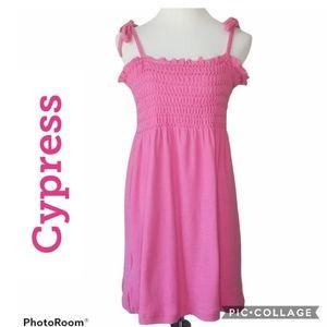 CYPRESS Hot Pink Strap Shirred Sundress Size Med